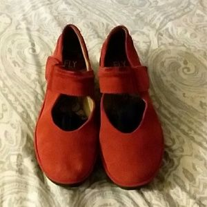 FLY LONDON Red Suede/leather MaryJanes Size 7M